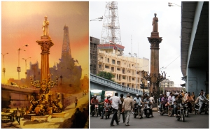 (L) Bhuwan Silhare's Khada Parsi from his show Mumbai 24x7, (R) Image of Khada Parsi as it stands today